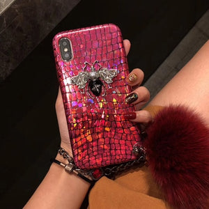 Shimmer Love Bee Phone Case w/ Chain