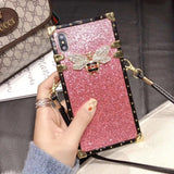 Love Bee Gradient Glitter Phone Case w/Strap