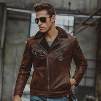 ed4705c2588 Men's Genuine Leather jacket pigskin real leather jackets with faux fur  shearling motorcycle bomber jackets aviator