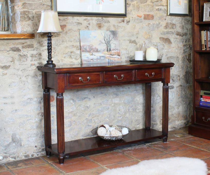 Baumhaus La Roque Mahogany Console Table with Drawers - Prestige Tables