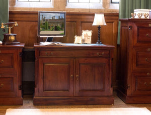 Baumhaus La Roque Mahogany Hidden Home Office Desk - Prestige Tables