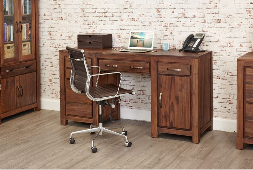 Baumhaus Mayan Walnut Twin Pedestal Computer Desk - Prestige Tables