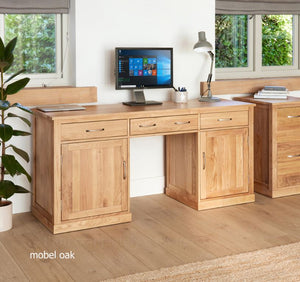 Baumhaus Mobel Oak Large Hidden Office Twin Pedestal Computer Desk - Prestige Tables