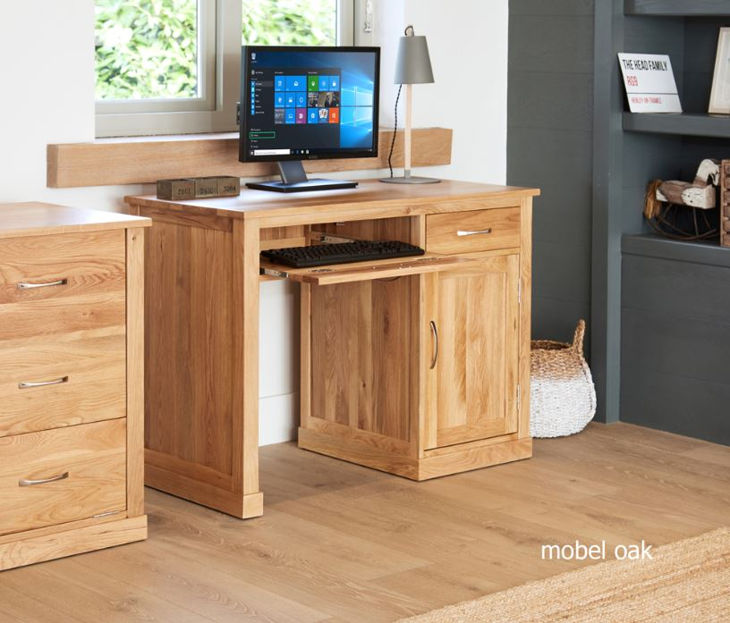 Baumhaus Mobel Oak Single Pedestal Computer Desk - Prestige Tables