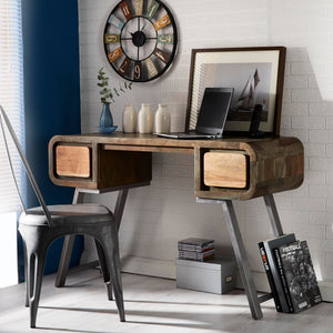 Indian Hub Aspen Range Iron and Wooden  2 Drawer Console Table - Prestige Tables