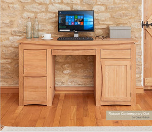 Baumhaus Roscoe Oak Home Office Desk - Prestige Tables