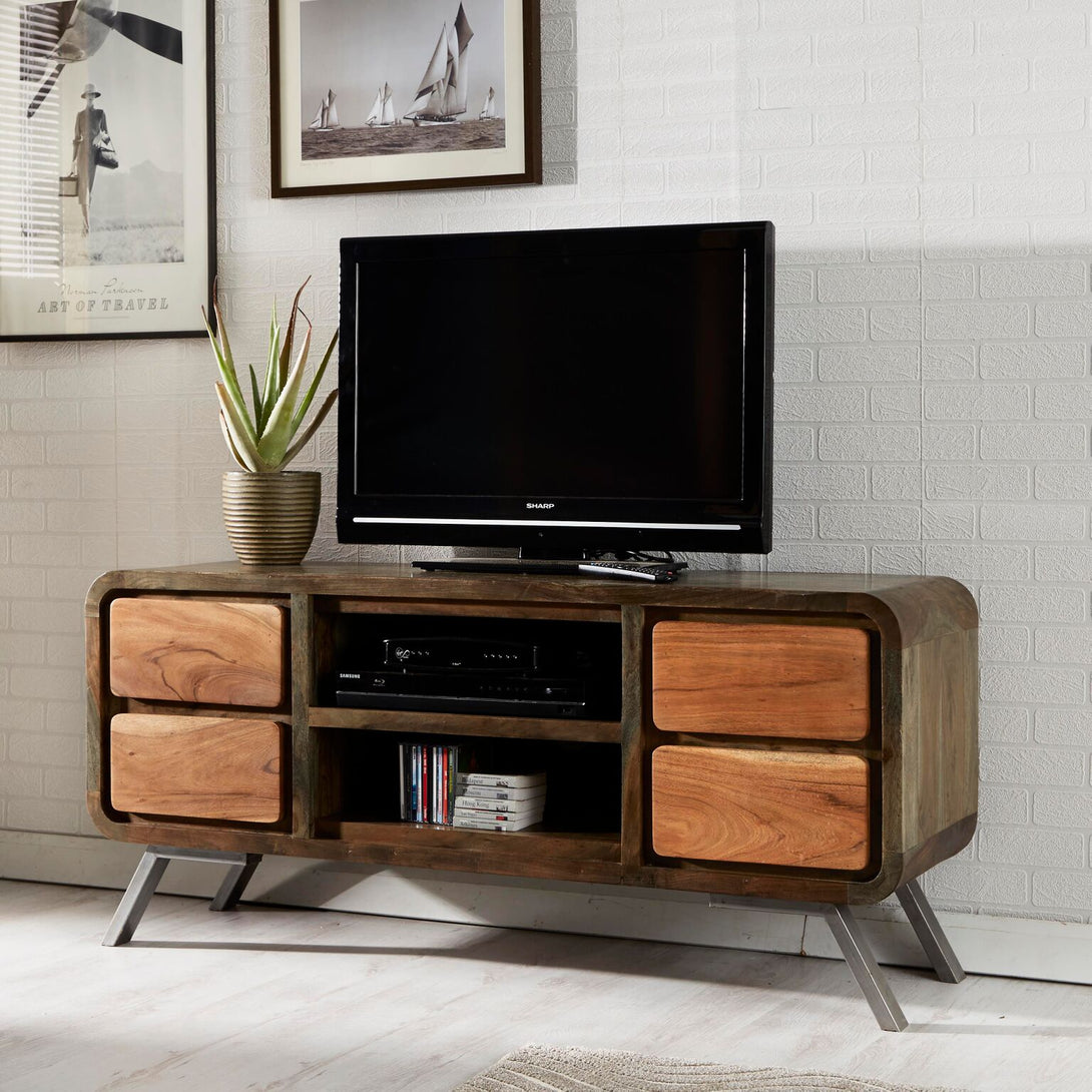 Indian Hub Aspen Range  Iron and Wooden 4 Drawer TV Media Unit - Prestige Tables