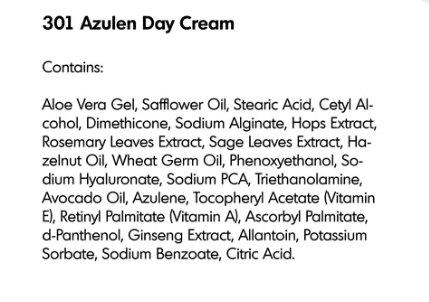 Azulen Day Cream Ingredients