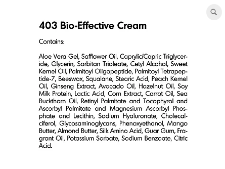 Bio-Effective Cream Ingredients