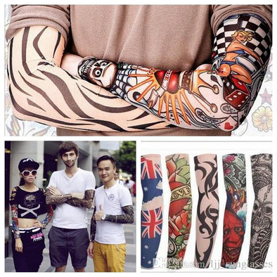 Multi Style Nylon Seamless Elastic Fake Tattoo Sleeve 5-Randon Pack