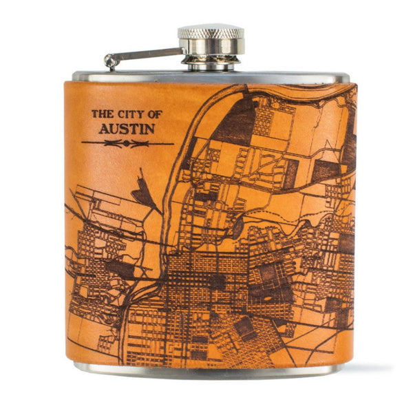 Leather City Map Flask