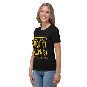 Ask Me About Brows - Women's T-shirt Black Yellow Print