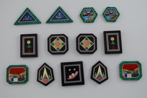 Intarsia Natural Gemstone Pendants