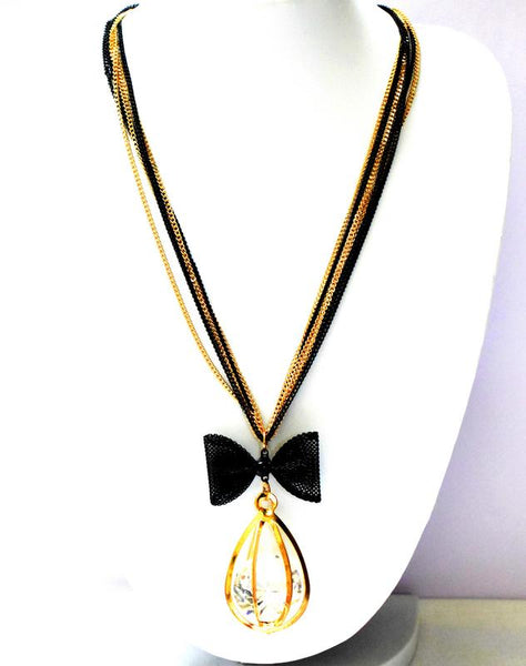 HIRNYA BLACK AND GOLD CRYSTAL NECKLACE