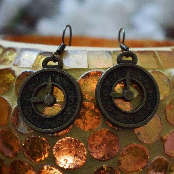 HIRNYA BRONZE CLOCK EARRINGS