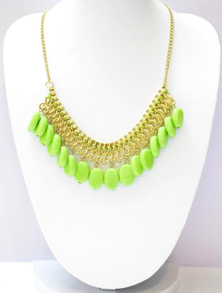 HIRNYA LIME GREEN BEADS NECKLACE