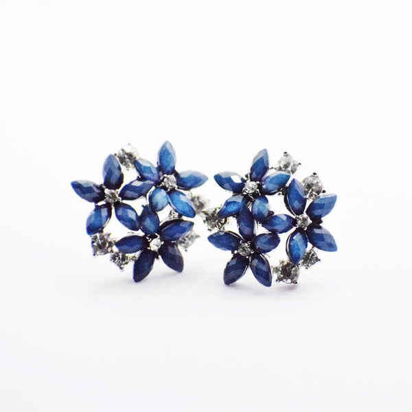 HIRNYA ROYAL BLUE FLORAL BIG STUD