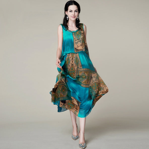 Print Silk Women Dress/Exclusive Summer New Party Dresses