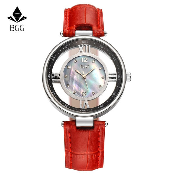 Genuine leather dress watches ladies Luxury Shell Dial Skeleton Casual quartz