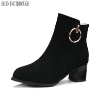 women boots casual ankle boots thick high heels boots  dress shoes
