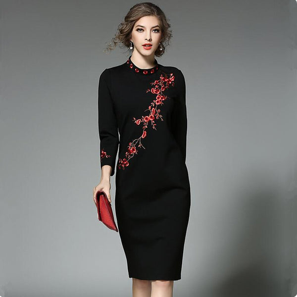 Embroidered black dress