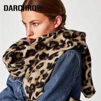 Leopard Printed Scarf Women Winter Blanket Scarf Warm Soft Cashmere Thick Shawl for Women