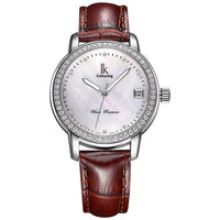 Luxury Rhinestone Silver Waterproof  Women Mechanical Self-winding Watch