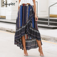 Simplee Ruffle boho print wrap skirt women Summer beach casual maxi skirt female 2018 Spring vintage high waist long skirt