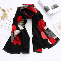 new style 2018 floral women scarf winter shawls and wraps thick warm double-sides pashmina oversized blanket scarf echarpe femme