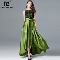 Women's O Neck Sleeveless Embroidery Bodice Sash Belt Draped Elegant Party Prom Runway Dresses