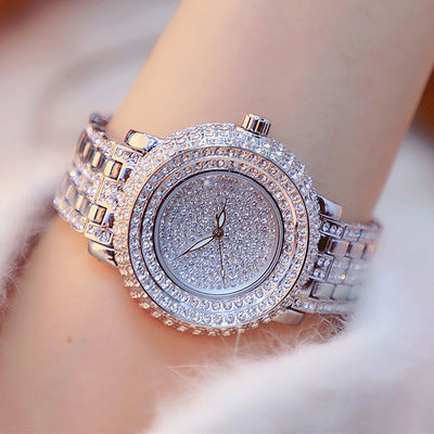 Luxury Rhinestone Women Dress Watch Big Dial Crystal Bracelet Watch