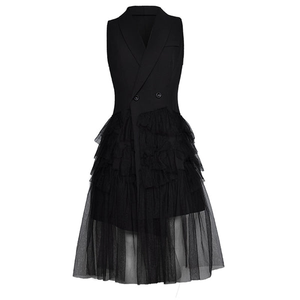 Designer Runway Dress Women's Sleeveless Cascading Ruffle Gauze Patchwork Notched Collar Dress