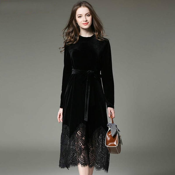 Velvet Lace Stitching Long Vintage Elegant Robe Office Casual Dress