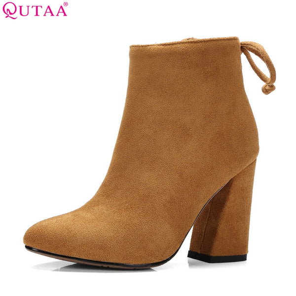 QUTAA 2019 Women Shoes Ankle Boots Elastic band Stretch Fabric Hoof High Heel Fashion Women Party Shoes Black Warm Size 34-43
