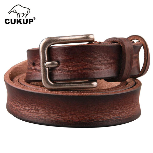CUKUP Women's Quality 100% Real Pure Cow Genuine Belts Women Female Pin Buckle Casual Styles Jeans Accessories for Woman NCK470