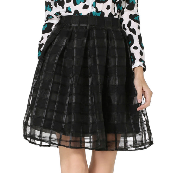 USA SIZE Women's Skirt Pleated Mesh Skirt Fluffy Plaid Organza Skirt