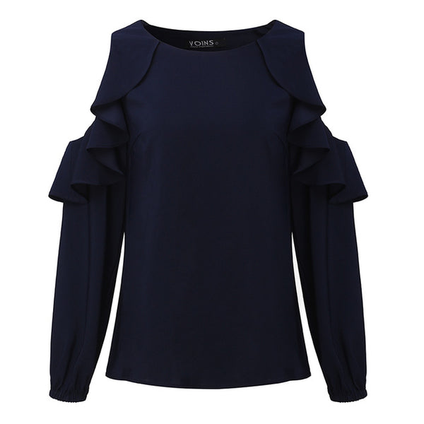 Sexy Cold Shoulder Women Blouse Top Long Sleeve Solid Big Size Ruffles Elegant Top Shirt O-Neck Casual Loose Ladies Top Shirt