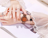 Rose Gold Quartz Watches Women Stainless Steel Wristwatch Luxury Ladies Crystal Watch Dress Watch