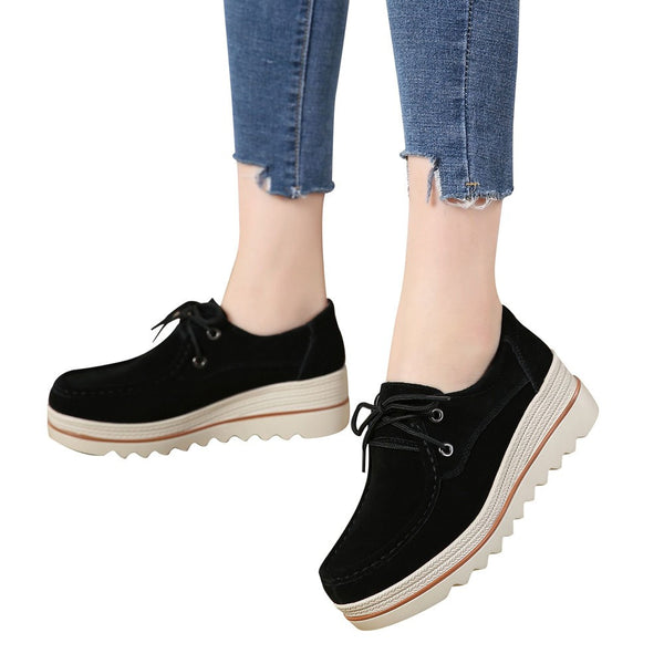 Women Flats Lace-up Muffin Sneakers Leather Casual Shoes Creepers Moccasins