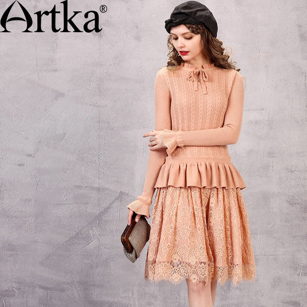 Autumn New Solid Color Lace Knitted Dress. Vintage Dress With Ruffles