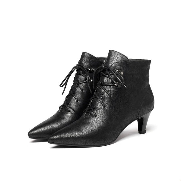Gnuine leather middle heels women pointed toe side zipper ankle boots ladies lace-up dress booties