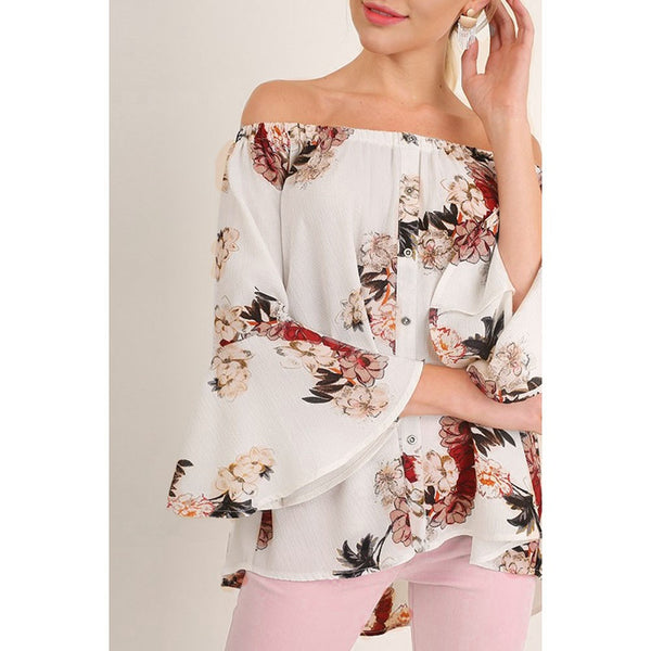 Women Off Shoulder Floral Printed Long Sleeve Shirt Loose Blouse Tops T-Shirt