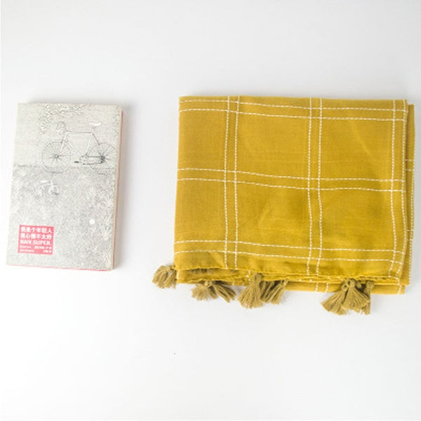 Women Scarf Vintage Cotton Linen Plaid Winter Scarf