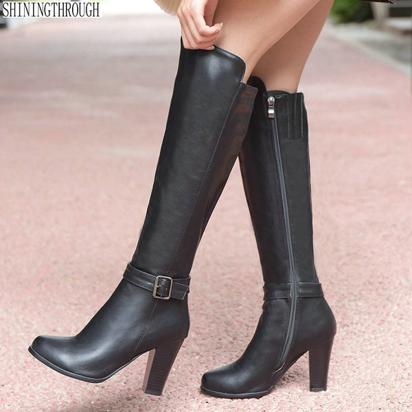 Women knee high boots pu leather office ladies dress shoes