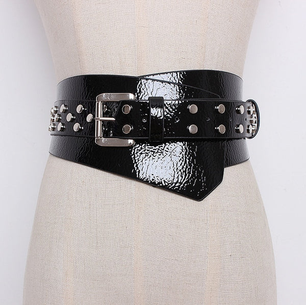 [EAM] 2019 New Spring Summer Patent Leather Riveting Irregular Adjustable Waist All-match Belt Women Fashion Tide LC185