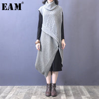 Winter Woman Hit Color Long Sleeve Turtleneck Spliced Knitting Two Piece Long Loose Dress
