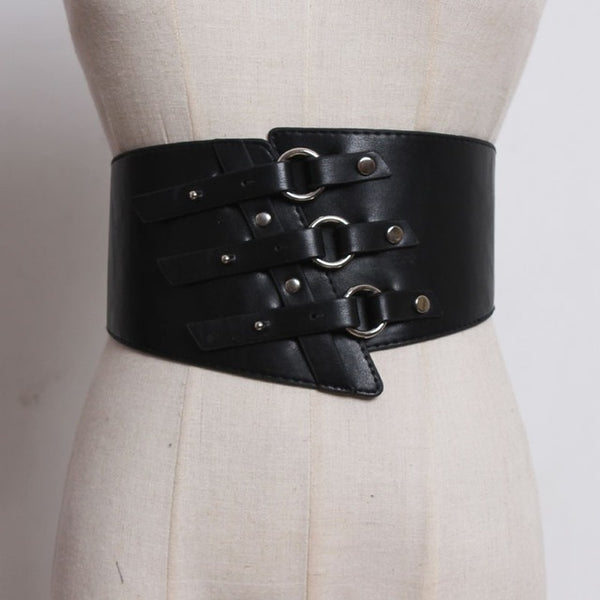 [EAM] 2019 New Spring Summer Buckle Split Joint Pu Leather Irregular Circle Wide Belt All-match Women Fashion Tide JO070