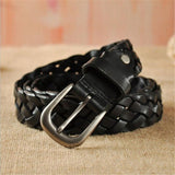 SupSindy Leather Belts Women Alloy Pin Buckle Female Waistband Luxury Vogue Black Woven Genuine Leather Women's Belt Top quality