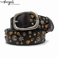 ZAYG Hot Luxurious High Quality Mongolian Wind Rivet Pin Buckle Belt Alloy Buckle Belt European Fashion Women and Man Jeans Belt