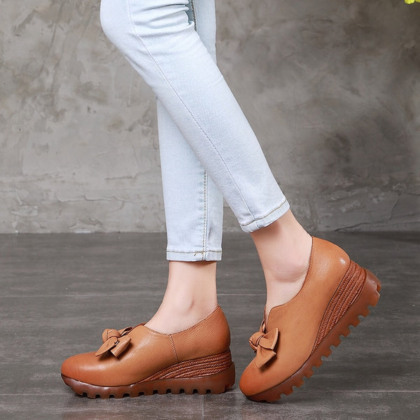 Handmade Genuine Leather Women Shoes. Soft Leisure Slip On heel shoes